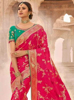Silk Hot Pink Embroidered Designer Traditional Saree