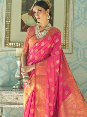 Silk Hot Pink Traditional Designer Saree