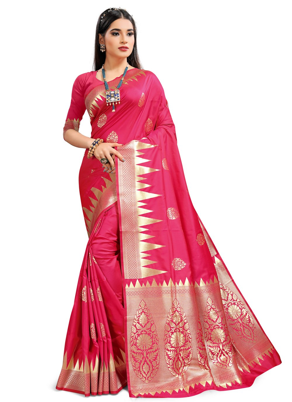 Silk Hot Pink Traditional Saree