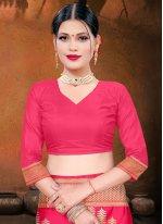 Silk Hot Pink Woven Designer Traditional Saree