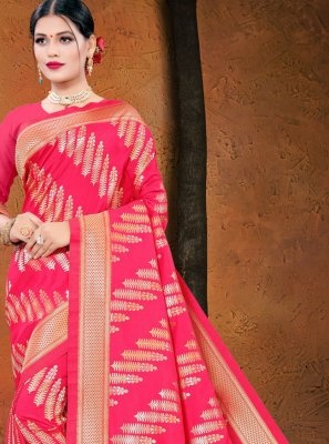 Silk Hot Pink Woven Designer Traditional Saree