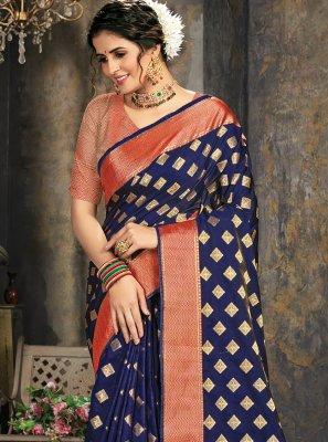 Silk Jacquard Work Blue Trendy Saree
