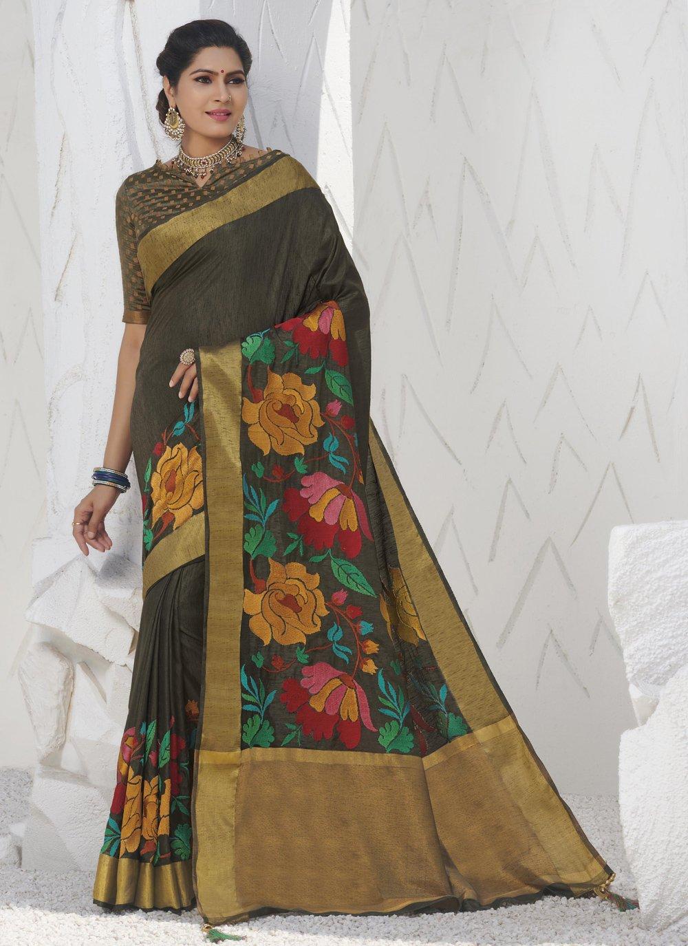 Silk Khaki Swarovski Traditional Designer Saree