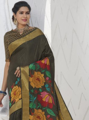 Silk Khaki Swarovski Traditional Designer Saree