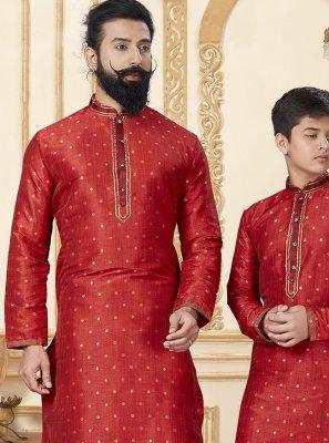 Silk Kurta Pyjama in Red