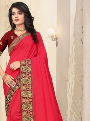 Silk Lace Bollywood Saree in Pink