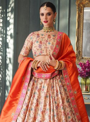 Silk Lace Lehenga Choli in Cream