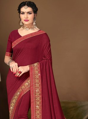 Silk Lace Maroon Traditional Saree