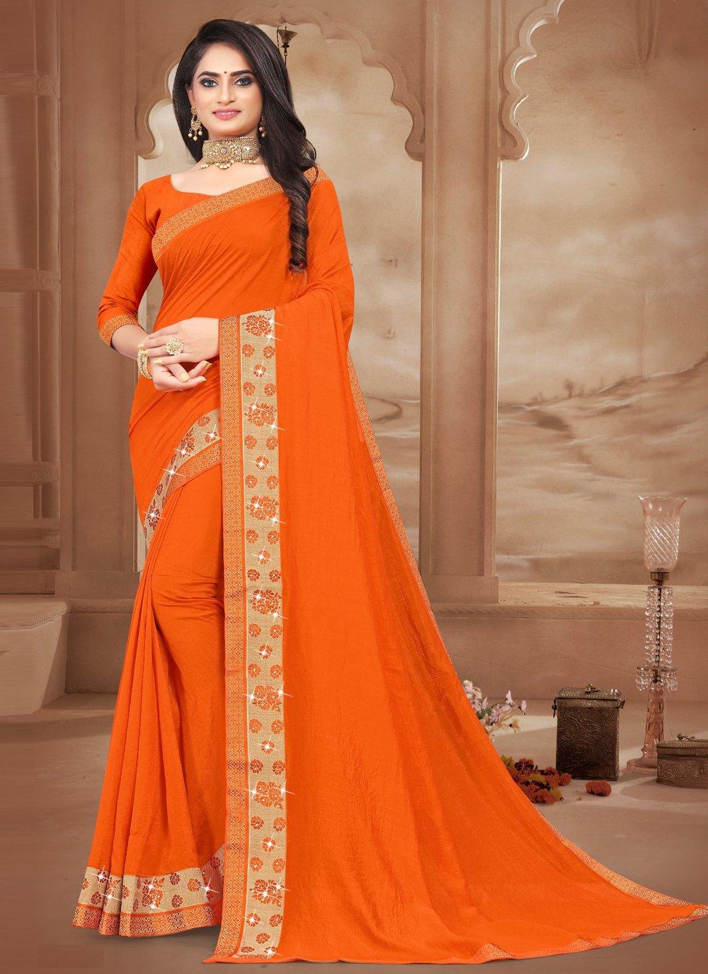 Silk Lace Orange Designer Saree