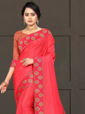 Silk Lace Pink Traditional Saree