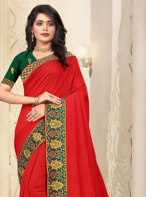 Silk Lace Red Traditional Saree