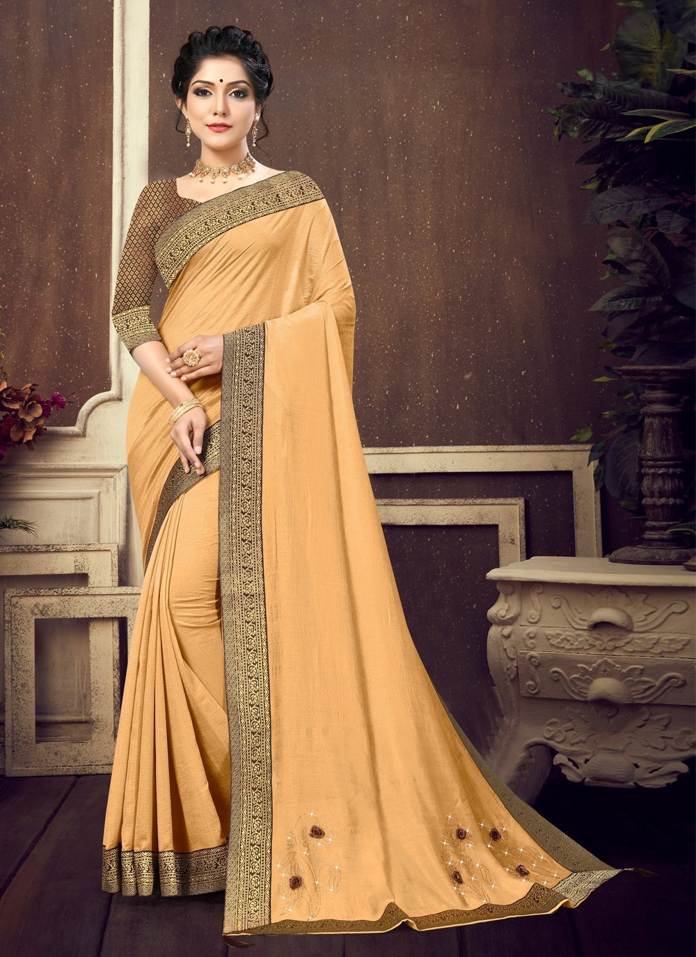 Silk Lace Traditional Saree in Beige