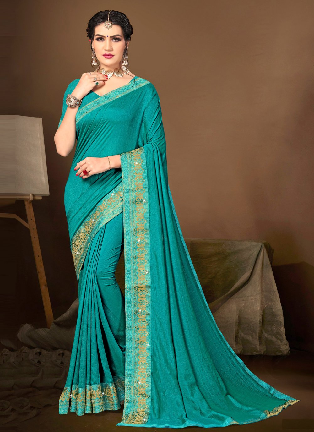 Silk Lace Traditional Saree in Blue