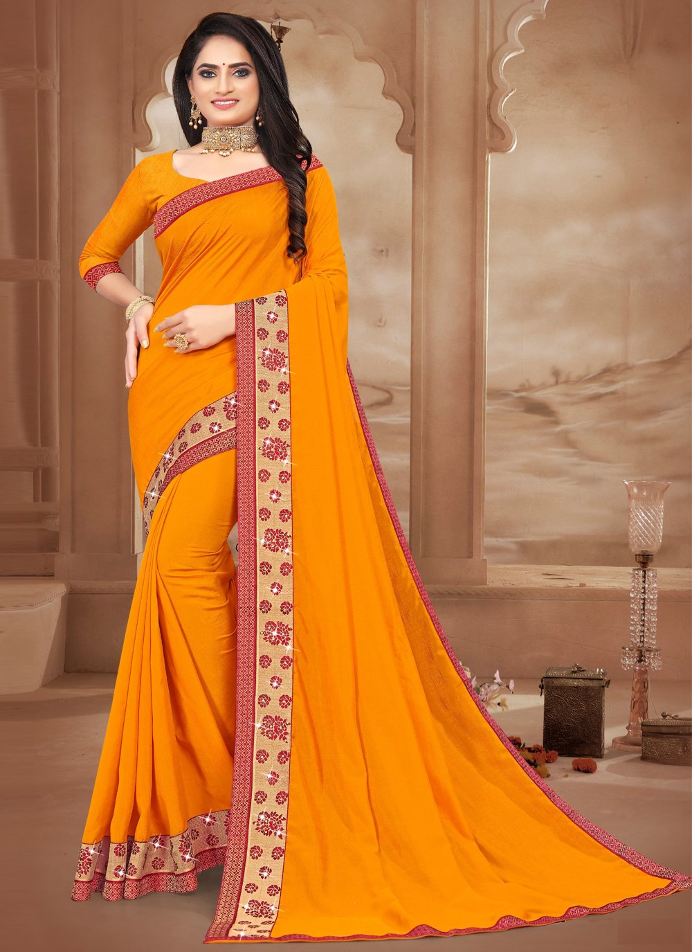 Silk Lace Traditional Saree in Mustard