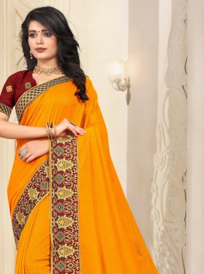 Silk Lace Trendy Saree in Yellow