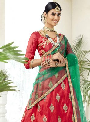 Silk Lehenga Choli in Red