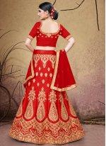 Silk Lehenga Choli in Red