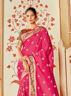 Silk Magenta Designer Saree