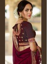 Silk Magenta Patch Border Designer Traditional Saree