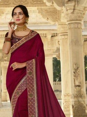 Silk Magenta Patch Border Designer Traditional Saree