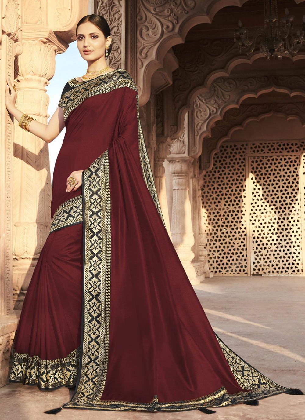 Silk Maroon Designer Traditional Saree