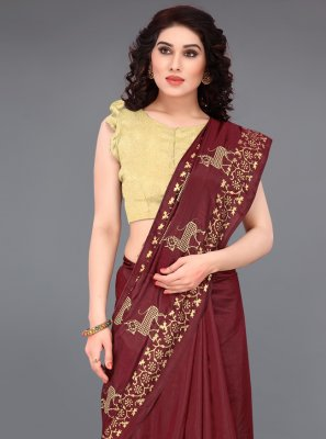 Silk Maroon Print Casual Saree