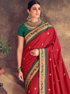 Silk Maroon Traditional Designer Saree
