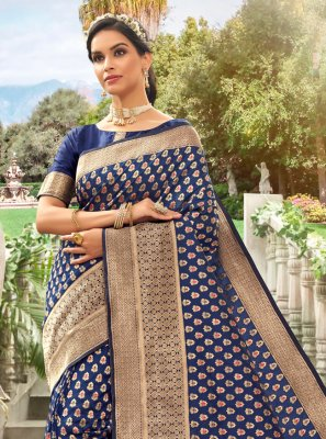 Silk Meena Blue Traditional Designer Saree