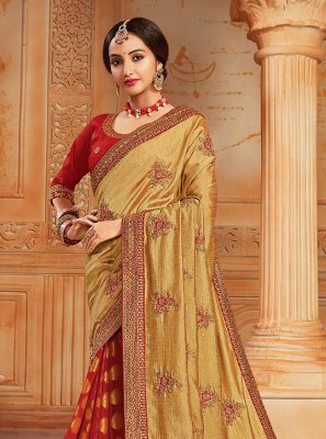 Silk Mehndi Designer Half N Half Saree