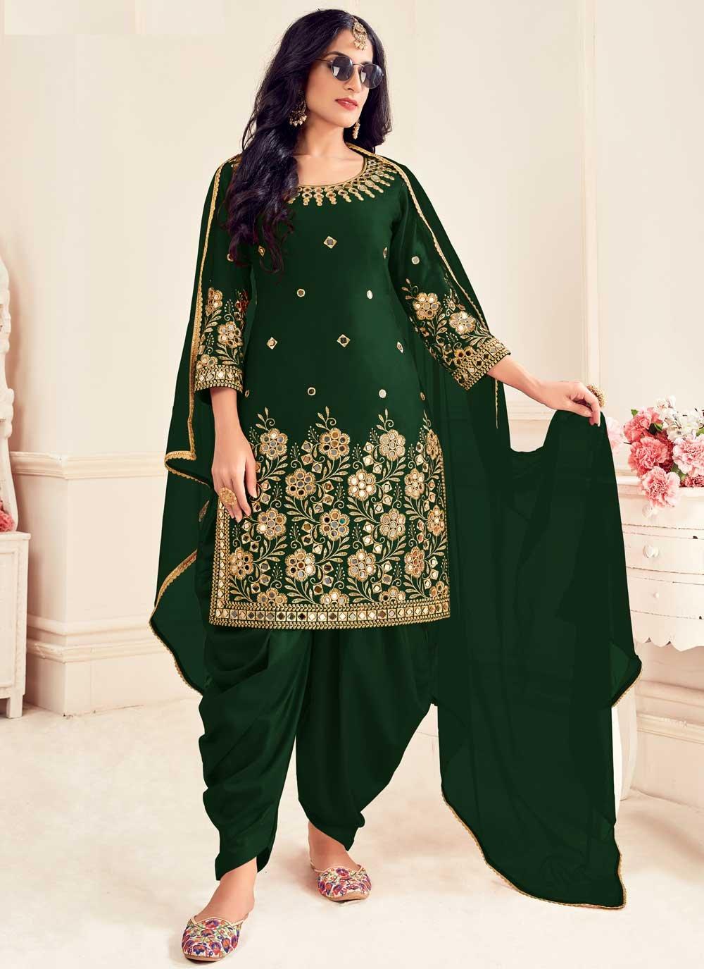 Silk Mirror Green Patiala Suit