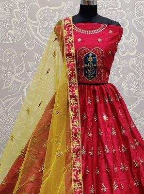 Silk Mirror Lehenga Choli in Pink