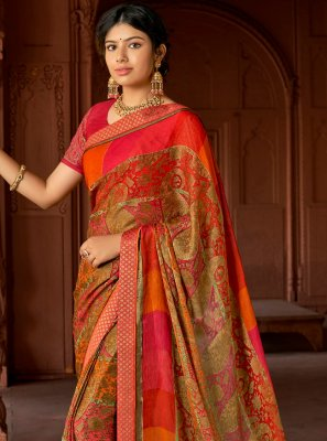 Silk Multi Colour Floral Print Printed Saree