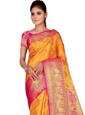 Silk Mustard Designer Traditional Saree