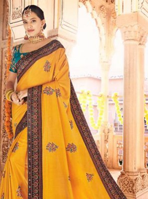 Silk Mustard Embroidered Traditional Designer Saree