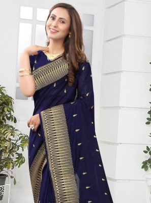 Silk Navy Blue Designer Saree