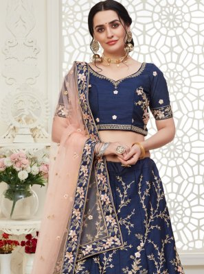 Silk Navy Blue Embroidered A Line Lehenga Choli