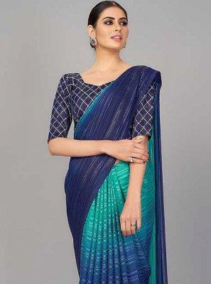 Silk Navy Blue Print Designer Saree