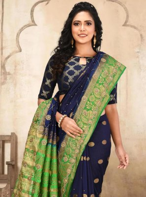 Silk Navy Blue Weaving Traditional Designer Saree