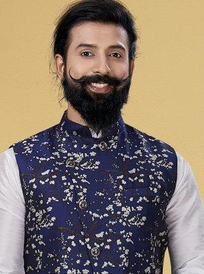 Silk Nehru Jackets in Blue