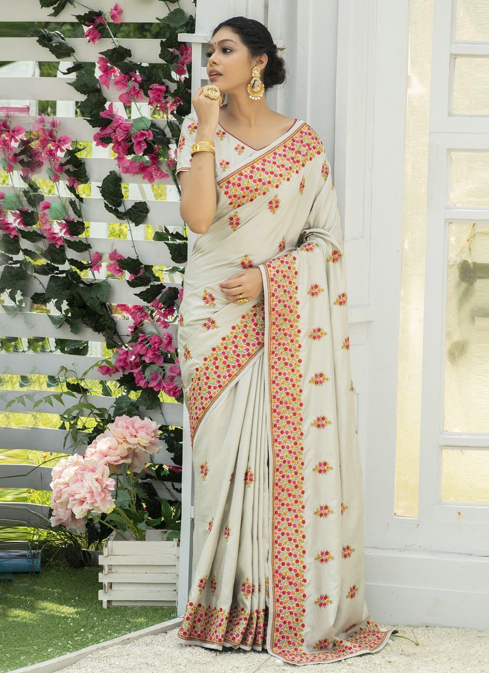 Silk Off White Embroidered Traditional Designer Saree