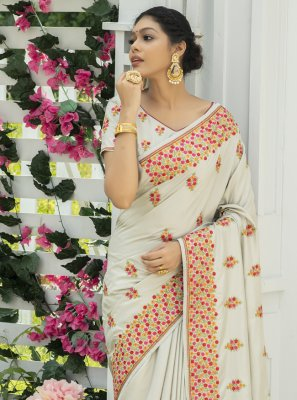 Silk Off White Embroidered Traditional Designer Saree