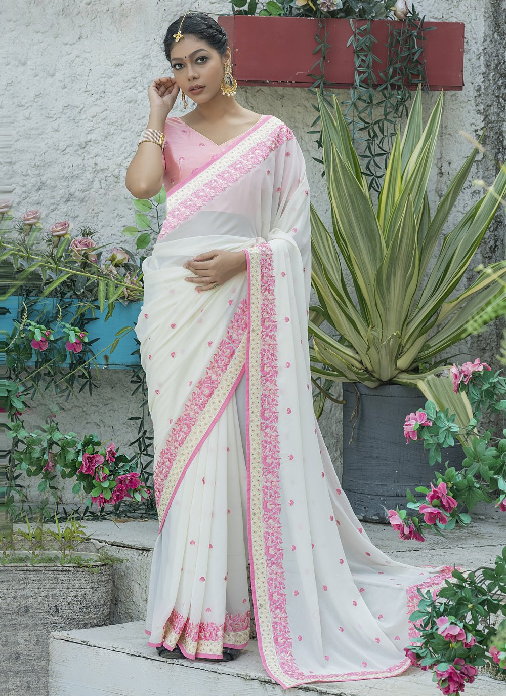 Silk Off White Traditional Designer Saree