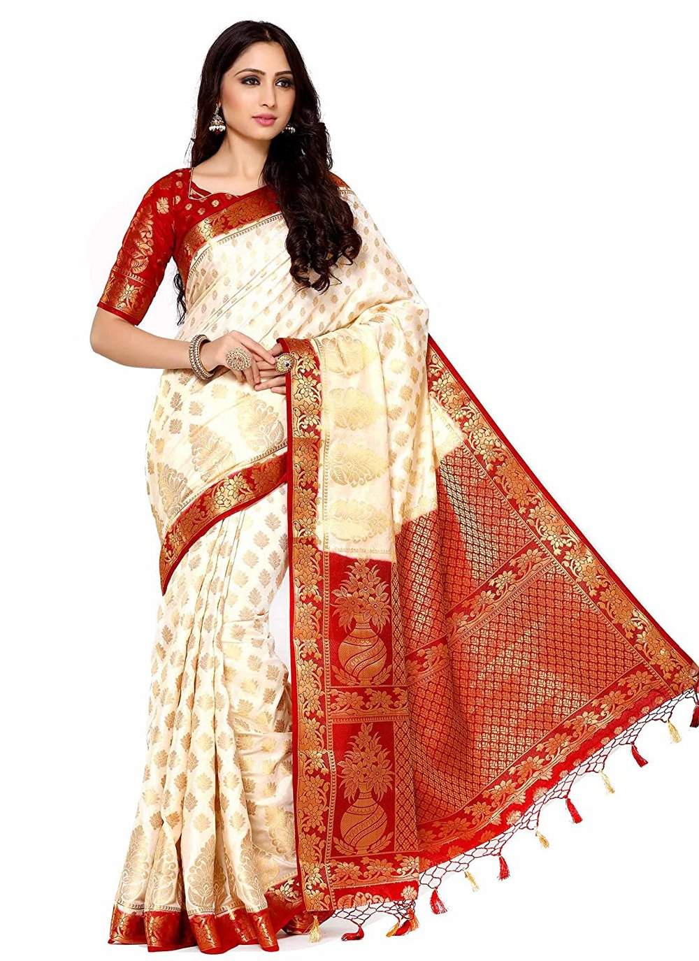 Silk Off White Zari Designer Traditional Saree