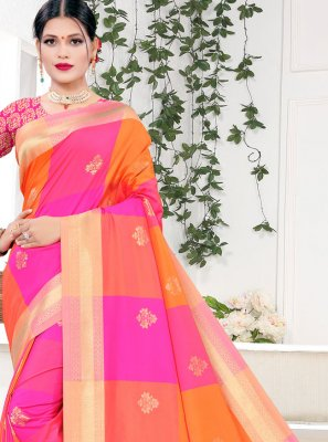 Silk Orange and Pink Traditional Designer Saree