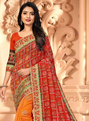 Silk Orange and Red Half N Half  Saree