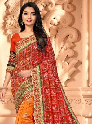 Silk Orange and Red Half N Half  Saree
