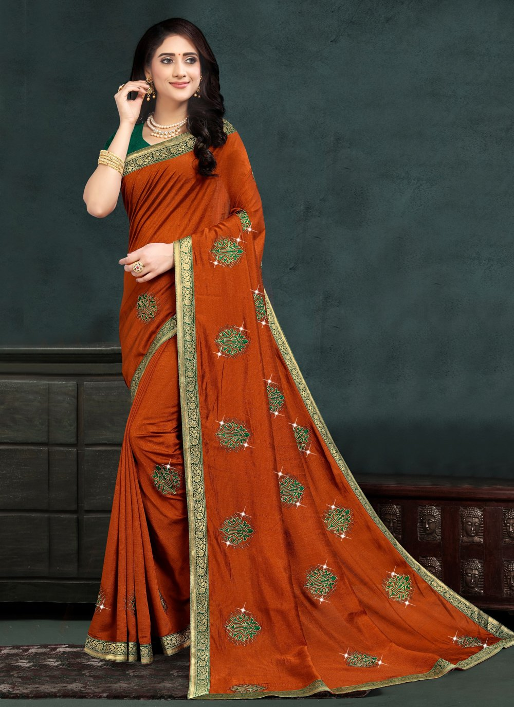 Silk Orange Designer Traditional Saree