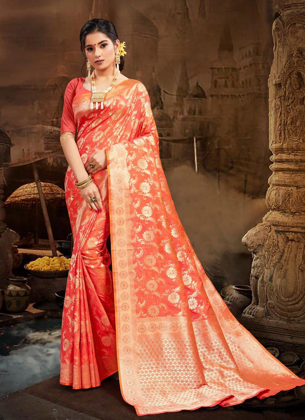 Silk Orange Designer Traditional Saree