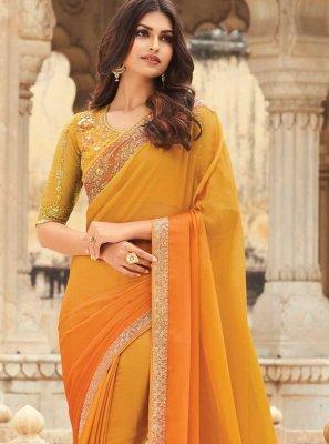 Silk Orange Embroidered Shaded Saree