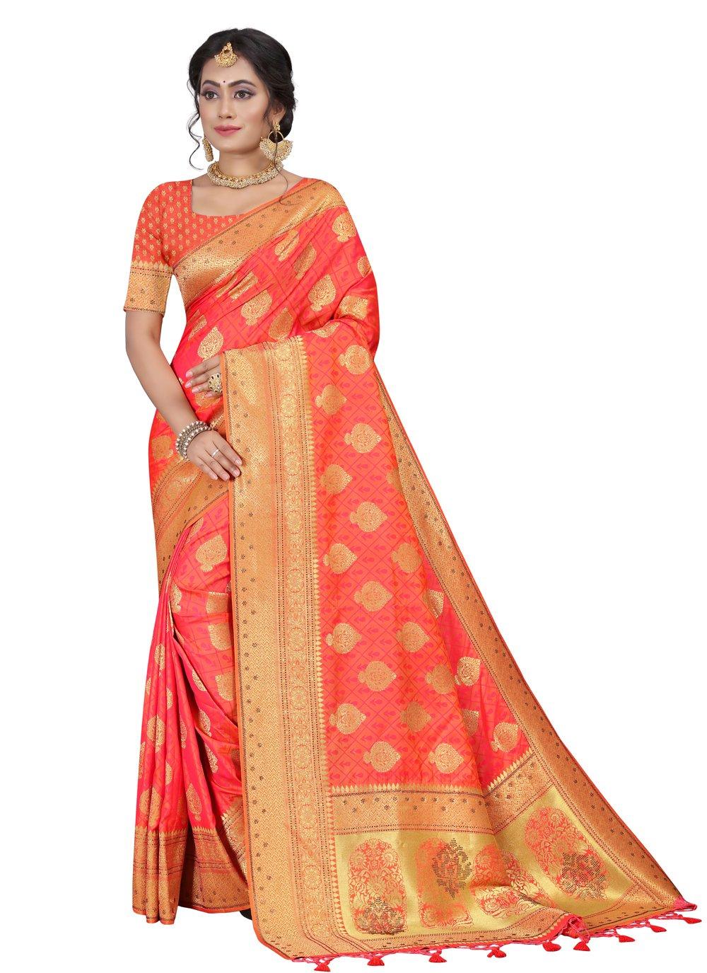 Silk Orange Fancy Traditional Designer Saree